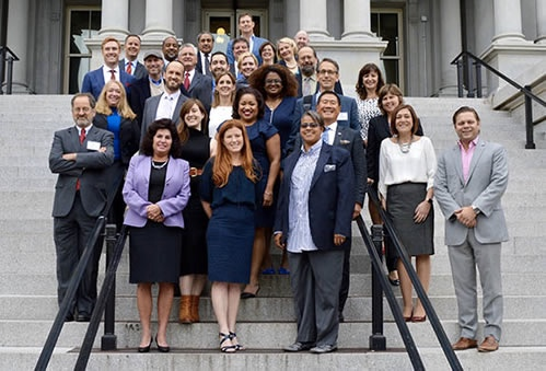 2016-2018 NACIE members gather on the Navy Steps at the Eisenhower Executive Office Building just prior to their first meeting on October 6, 2016.